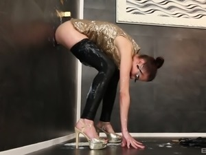 Kinky classy lady has the appointment with a gloryhole for a slime wave