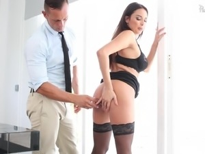 Long hair brunette in nylon stockings riding long dick hardcore