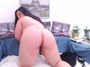 Chunky fatty with dark hair exposes her big boobs and big rack on webcam