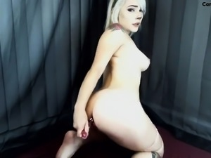 Blonde playing with big anal toys in her ass
