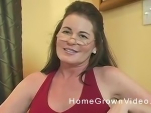 Mature woman with glasses opens her legs for a big boner