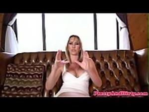 Interviewed pornstar talking about herself