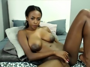Ebony Doll With Big Boobs In Her Bed