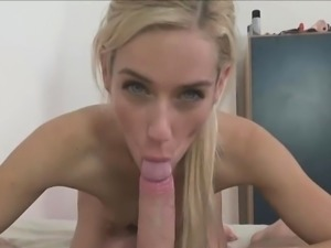 Small Titted Blonde Sucks POV