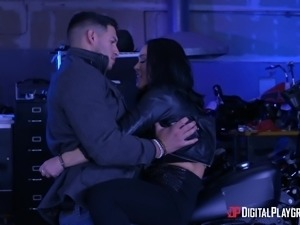 Hot sexual sesssion with alluring brunette biker chick Kristina Rose