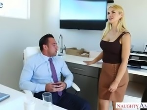 Giggling crazy blonde cowgirl with big titties Sarah Vandella loves anal