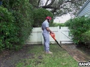 Fantastic American curvy brunette babe Skyla Novea is fucked by her gardener
