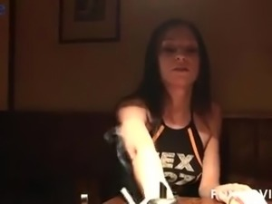 Shameless slutty nympho Jackie Tiefenbacher masturbates in the bar