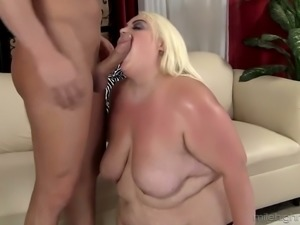 Extremely fat blonde BBW Cheryl rides fat cock after stout blowjob