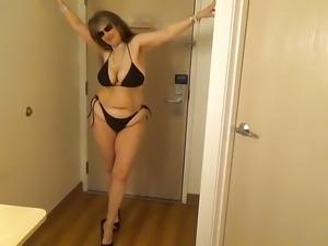 Tinja Busts Out Of A Black String Bikini