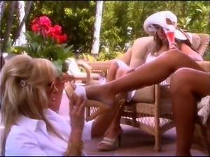 Great lesbian session by the pool with Lacey Love and her friends
