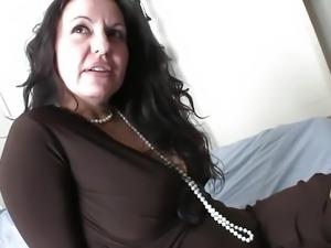 Flirting and fucking a mature brunette