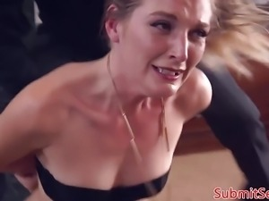 Blonde bondage sub anal fucked before foot job