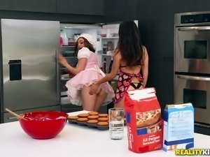 Melissa Moore and Mary Moody hook up for a sex session in a kitchen