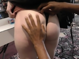 Lily Rader has a blast while riding a BBC from a glory hole
