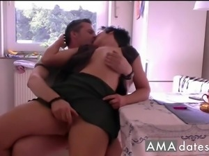 Slightly thick MILF gets a kitchen quickie