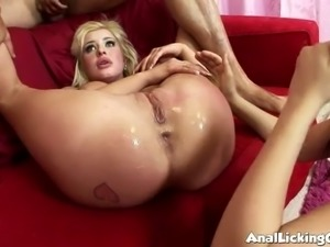 Happy blonde with big rack is ready for some hard fingering (FFM)