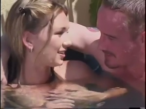 Light haired torrid pale nympho blows such a strong cock in the pool