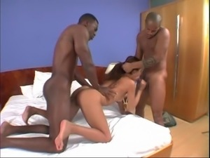 Latina Karini screaming while double penetrated with big black cocks
