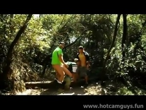 Several guys cruising in the woods and suck, fuck and cum bareback.