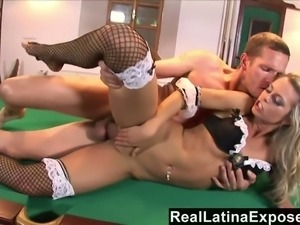 This blondie has a nice tight body and she likes to have sex on the pool table