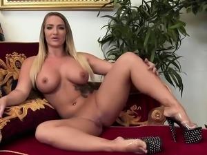Beautiful blonde sucks a glory hole cock