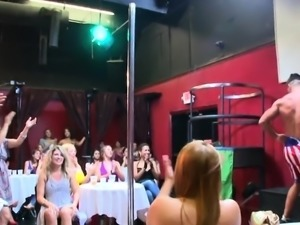 Sexy stripper hunks are getting juicy blowbang from women