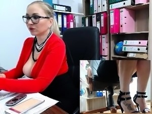 Big Boobs Blonde With Giant Dildo