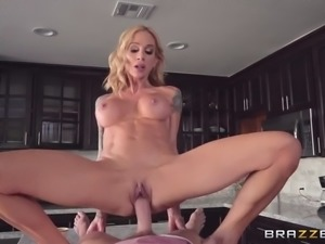big titted mom sarah jessie rides hard cock on the table