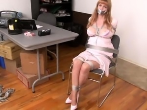 Elegant blonde milf with big hooters gets tied up and gagged