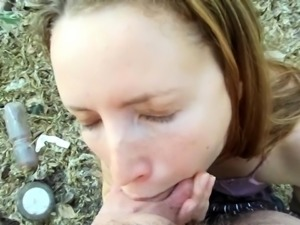 Outdoor pussy fingering for slutty brunette amateur