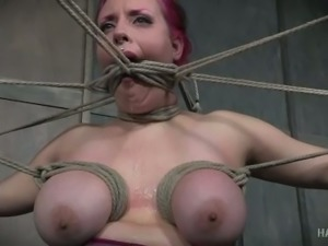 Hot pink haired slut with big tits in some rough rope bondage