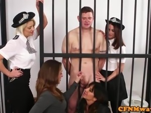 CFNM police babes dominate naked prisoner