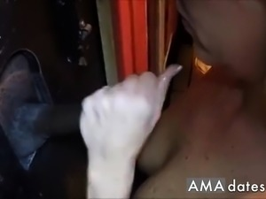 Wifey milking some cocks at the gloryhole