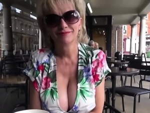 UK MILF Sonia shows her tits in public, and sucks dick on