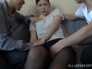 Kinky Japanese Girl Gets Gagged and Fucked in a Threesome