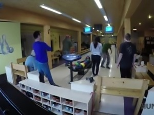 Ardent nympho finally agrees to be fucked by stranger in the bowling hall