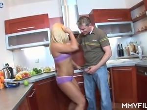 Really wild spoon sex pose on the kitchen floor with ardent blond whore