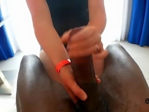 Small hands on big cock