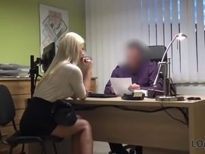 Long legged charming blonde nympho is eager to fuck with loan debtor