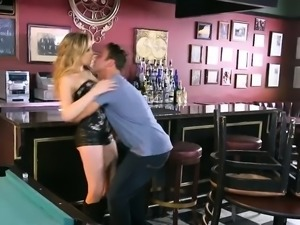 Lusty blond babe sucks off and gets boned on pool table