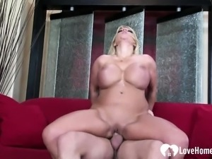 Busty blonde loves to take in his donger