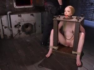 Titless whore Katy Kiss has to be tied up and masturbated really rough