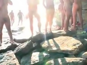 Slutty blonde milf gets drilled and facialized on the beach