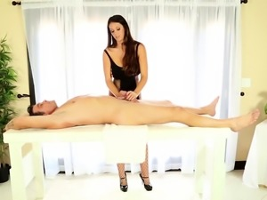 Lovely masseuse jerking