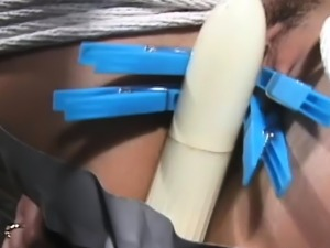 Hot ebon chick gets strapped and mistreated like a wench