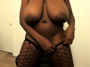 Ebony bbw in black stockings has her ass creamed